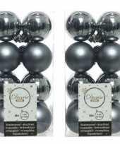 32x grijsblauwe kerstballen 4 cm glanzende matte kunststof plastic kerstversiering