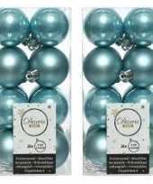 32x ijsblauwe kerstballen 4 cm glanzende matte kunststof plastic kerstversiering