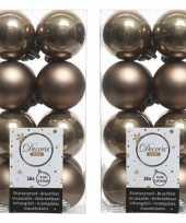 32x kasjmier bruin kerstballen 4 cm glanzende matte kunststof plastic kerstversiering
