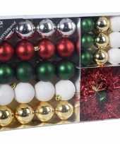 32x klassieke kerst kerstballen 4 5 8 cm en kerstslinger folieslinger matte glanzende glitters kunststof plastic kerstversiering