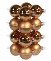 32x koperen kerstballen 8 cm glas kerstversiering