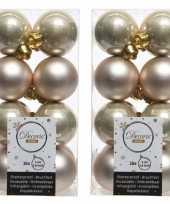 32x licht parel champagne kerstballen 4 cm glanzende matte kunststof plastic kerstversiering