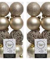 32x licht parel champagne kerstballen 6 cm glanzende matte glitter kunststof plastic kerstversiering