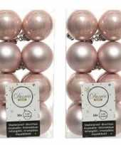 32x lichtroze kerstballen 4 cm glanzende matte kunststof plastic kerstversiering
