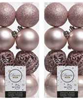 32x lichtroze kerstballen 6 cm glanzende matte glitter kunststof plastic kerstversiering