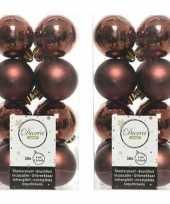 32x mahonie bruine kerstballen 4 cm glanzende matte kunststof plastic kerstversiering