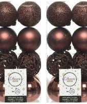 32x mahonie bruine kerstballen 6 cm glanzende matte glitter kunststof plastic kerstversiering