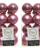 32x oud roze kerstballen 4 cm glanzende matte kunststof plastic kerstversiering