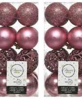 32x oud roze kerstballen 6 cm glanzende matte glitter kunststof plastic kerstversiering
