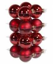 32x rode kerstballen 8 cm glas kerstversiering