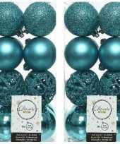 32x turquoise blauwe kerstballen 6 cm glanzende matte glitter kunststof plastic kerstversiering