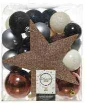 33x blauwe champagne bruine kerstballen 5 6 8 cm glanzende matte glitter kunststof plastic kerstversiering