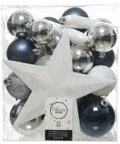 33x blauwe witte zilveren kerstballen 5 6 8 cm glanzende matte glitter kunststof plastic kerstversiering