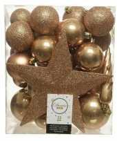 33x camel bruine kerstballen met ster piek 5 6 8 cm kunststof mix
