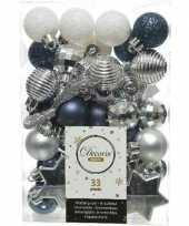 33x donkerblauwe witte zilveren kerstballen 3 4 cm glanzende matte glitter kunststof plastic kerstversiering