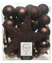 33x donkerbruine kerstballen met ster piek 5 6 8 cm kunststof mi