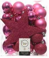 33x fuchsia roze kerstballen 5 6 8 cm glanzende matte glitter kunststof plastic kerstversiering