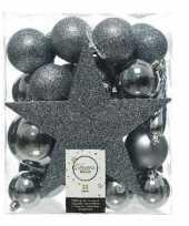 33x grijsblauwe kerstballen 5 6 8 cm glanzende matte glitter kunststof plastic kerstversiering