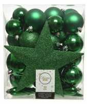 33x kerstgroene kerstballen met ster piek 5 6 8 cm kunststof mi
