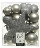 33x licht grijze kerstballen met ster piek 5 6 8 cm kunststof mi