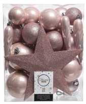 33x lichtroze kerstballen 5 6 8 cm glanzende matte glitter kunststof plastic kerstversiering
