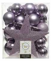 33x lila paarse kerstballen met ster piek 5 6 8 cm kunststof mi
