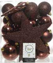 33x mahonie bruine kerstballen 5 6 8 cm glanzende matte glitter kunststof plastic kerstversiering