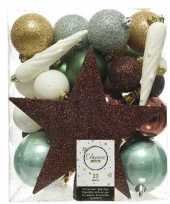 33x natuurtinten kerstballen 5 6 8 cm glanzende matte glitter kunststof plastic kerstversiering