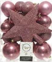 33x oud roze kerstballen 5 6 8 cm glanzende matte glitter kunststof plastic kerstversiering