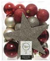 33x rode champagne bruine kerstballen 5 6 8 cm glanzende matte glitter kunststof plastic kerstversiering