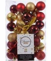 33x rode gouden kerstballen 3 4 cm glanzende matte glitter kunststof plastic kerstversiering