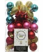 33x rode roze gouden turquoise kerstballen 3 4 cm glanzende matte glitter kunststof plastic kerstversiering
