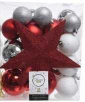 33x rode witte zilveren kerstballen 5 6 8 cm glanzende matte glitter kunststof plastic kerstversiering