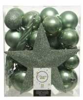 33x salie groene kerstballen met ster piek 5 6 8 cm kunststof mi