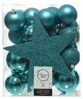 33x turquoise blauwe kerstballen 5 6 8 cm glanzende matte glitter kunststof plastic kerstversiering