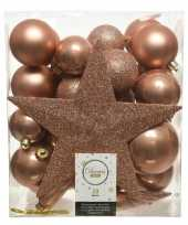 33x zacht terra bruine kerstballen met ster piek 5 6 8 cm kunsts