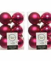 36x bessen roze kerstballen 6 cm kunststof mat glans