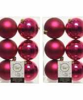 36x bessen roze kerstballen 8 cm kunststof mat glans