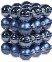 36x blauwe kerstballen 4 cm glas kerstversiering