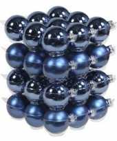 36x blauwe kerstballen 6 cm glas kerstversiering