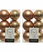 36x camel bruine kerstballen 6 cm kunststof mat glans