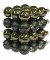 36x donker groene kerstballen 4 cm glas kerstversiering