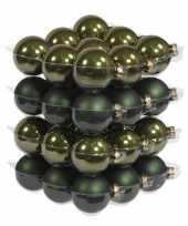 36x donker olijf kerstballen mat glans 6 cm glas kerstversiering