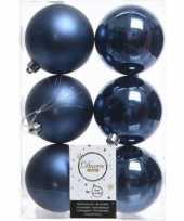 36x donkerblauwe kerstballen 8 cm glanzende matte kunststof plastic kerstversiering