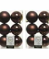 36x donkerbruine kerstballen 8 cm kunststof mat glans