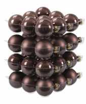 36x donkerbruine kerstballen mat glans 6 cm glas kerstversiering
