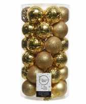 36x gouden kerstballen 6 cm glanzende matte glitter kunststof plastic kerstversiering