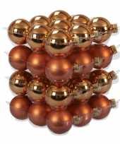 36x goudsbloem oranje kerstballen 4 cm glas kerstversiering