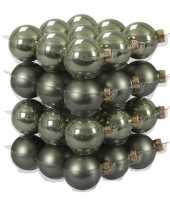 36x graniet groene kerstballen 4 cm glas kerstversiering