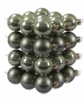 36x graniet groene kerstballen mat glans 6 cm glas kerstversiering